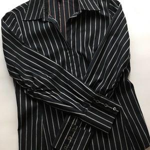Banana Republic Black Pin Stripe Blouse Size M